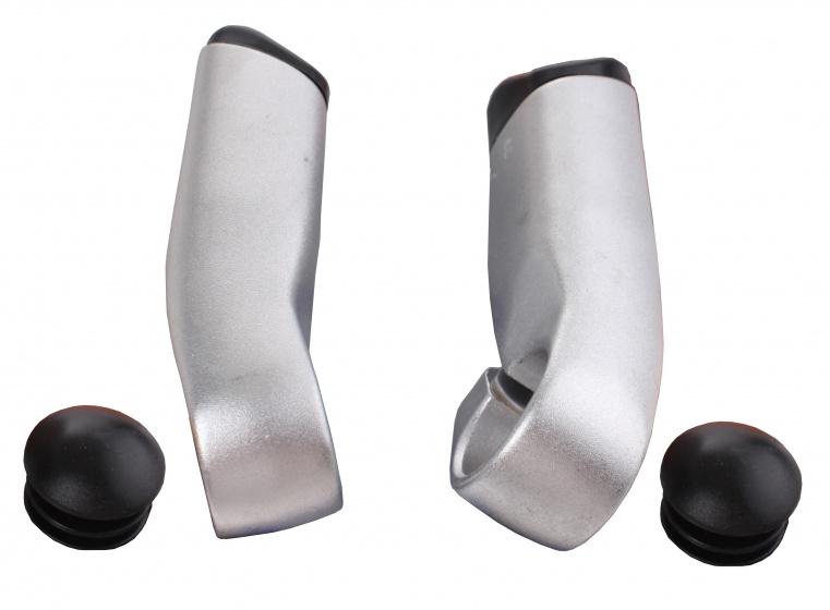 TranzX bar ends JD 833 aluminium zilver per 2 stuks