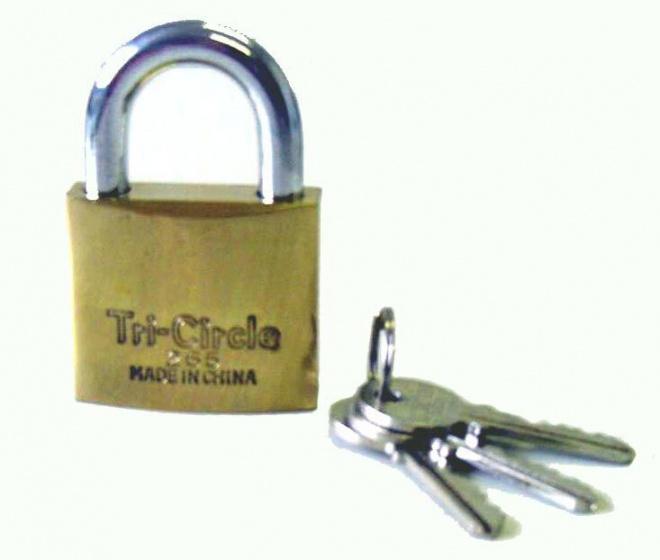 Tri Circle hangslot 3 sleutels 38 mm messing/staal zilver/goud