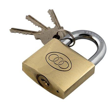 Tri Circle hangslot 3 sleutels 50 mm messing/staal zilver/goud