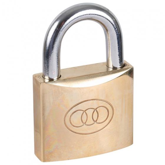 Tri Circle hangslot met 3 sleutels 63 mm staal/messing goud