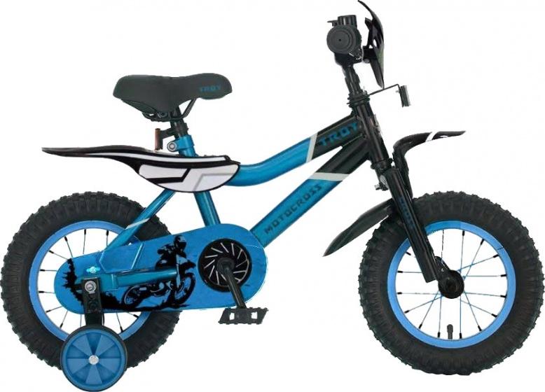 Troy Motorcross 12 Inch 20 cm Jongens Terugtraprem Blauw