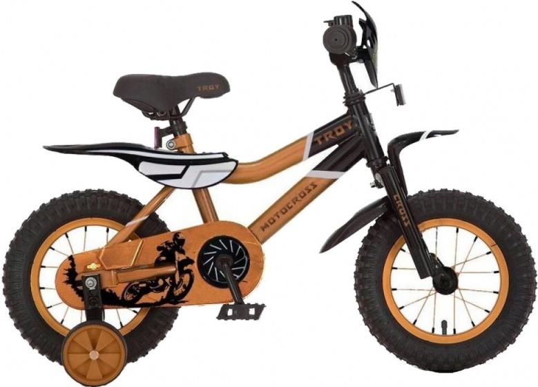 Troy Motorcross 12 Inch 20 cm Jongens Terugtraprem Oranje