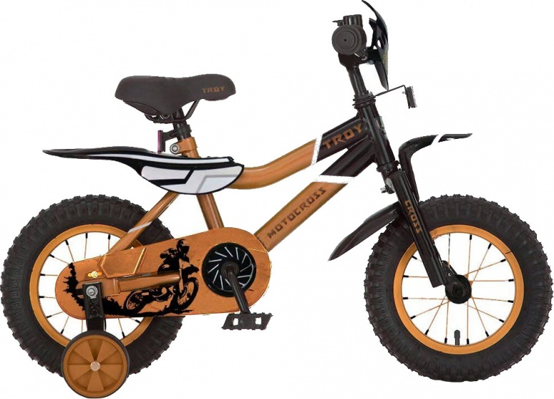 Troy Motorcross 16 Inch 26 cm Jongens Terugtraprem Oranje