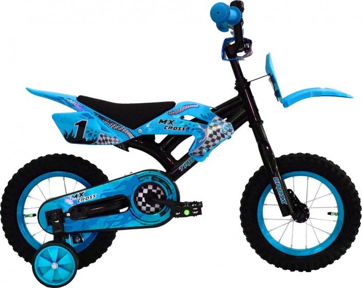 Troy MX Cross 12 Inch 20 cm Jongens Terugtraprem Blauw