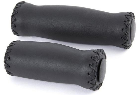Velo handvatten 125/90 mm leer/schuimrubber zwart 2 stuks
