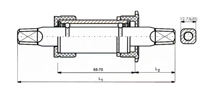 Ventura Cartridge Bottom Bracket Set 136 mm Zwart JIS BSA