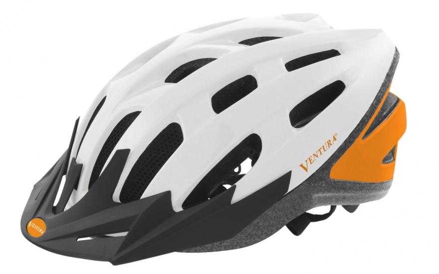 Ventura Fietshelm Met Visier Wit/Oranje Maat 58 62 cm