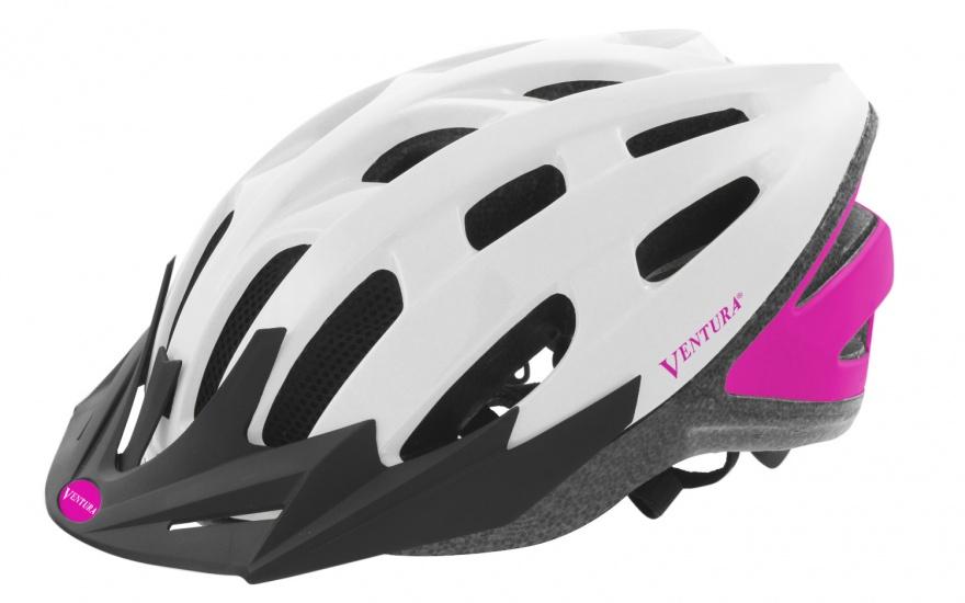 Ventura Fietshelm Met Visier Wit/Roze Maat 54 58 cm