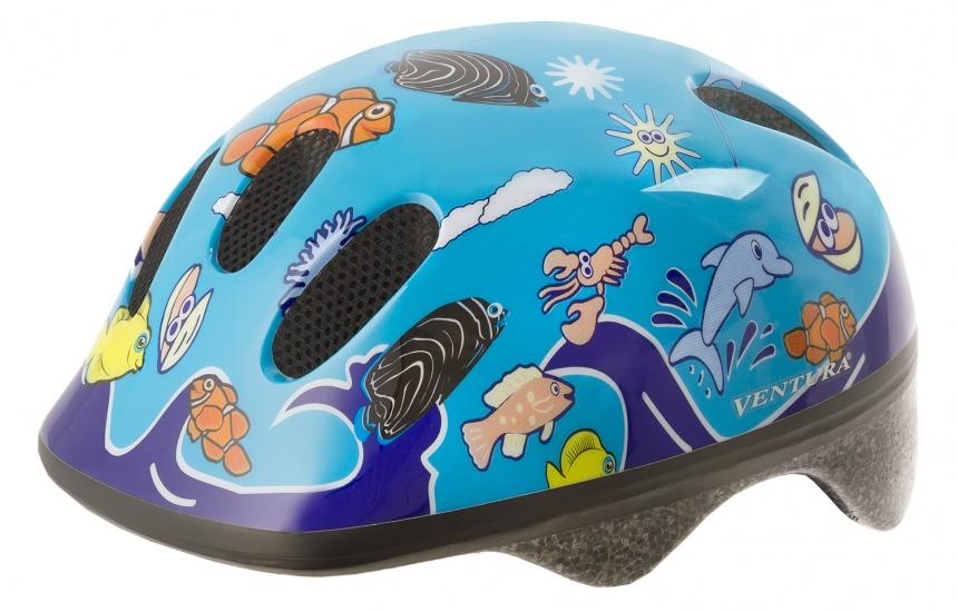 Ventura Fietshelm Sea World Klittenband Blauw Maat 52/56 cm
