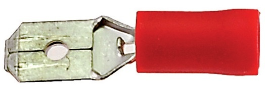 Amigo Kabelschoen / Stekker Man Plat 6.3mm Rood (25 Stuks) (246230)