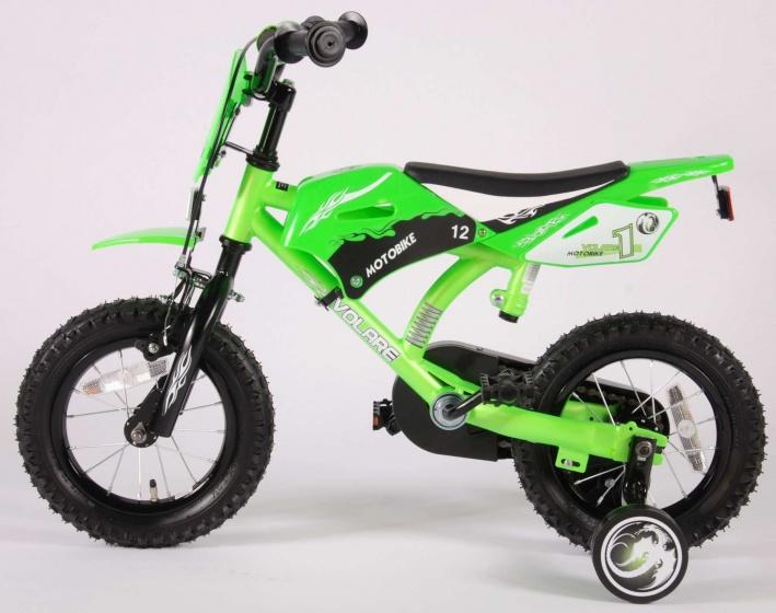 Volare Motobike 12 Inch 21,5 cm Jongens Terugtraprem Groen