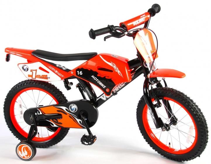 Volare Motorbike 16 Inch 25,4 cm Jongens Terugtraprem Zwart/Rood