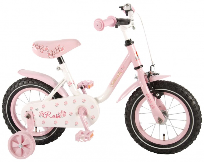 Volare Rose 12 Inch 21,5 cm Meisjes Terugtraprem Roze/Wit