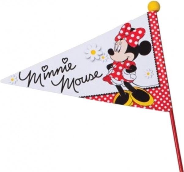 Widek fietsvlag met zwarte stok Minnie Mouse deelbaar rood/wit
