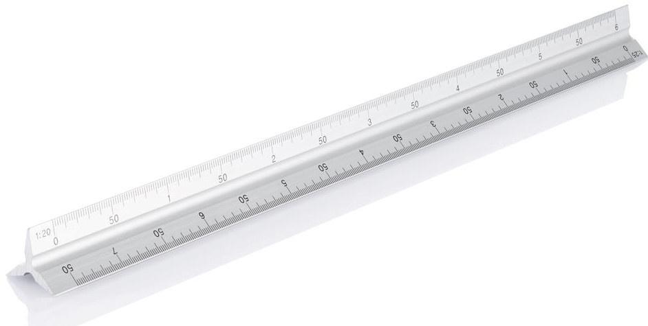 XD Collection liniaal driehoekig 32 cm aluminium zilver
