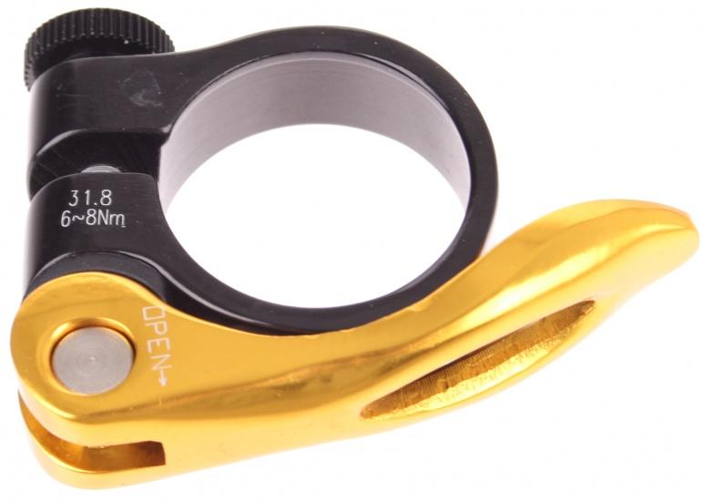 Xtasy Zadelpenklem SCQ 100 met QR 31,8 mm zwart/goud